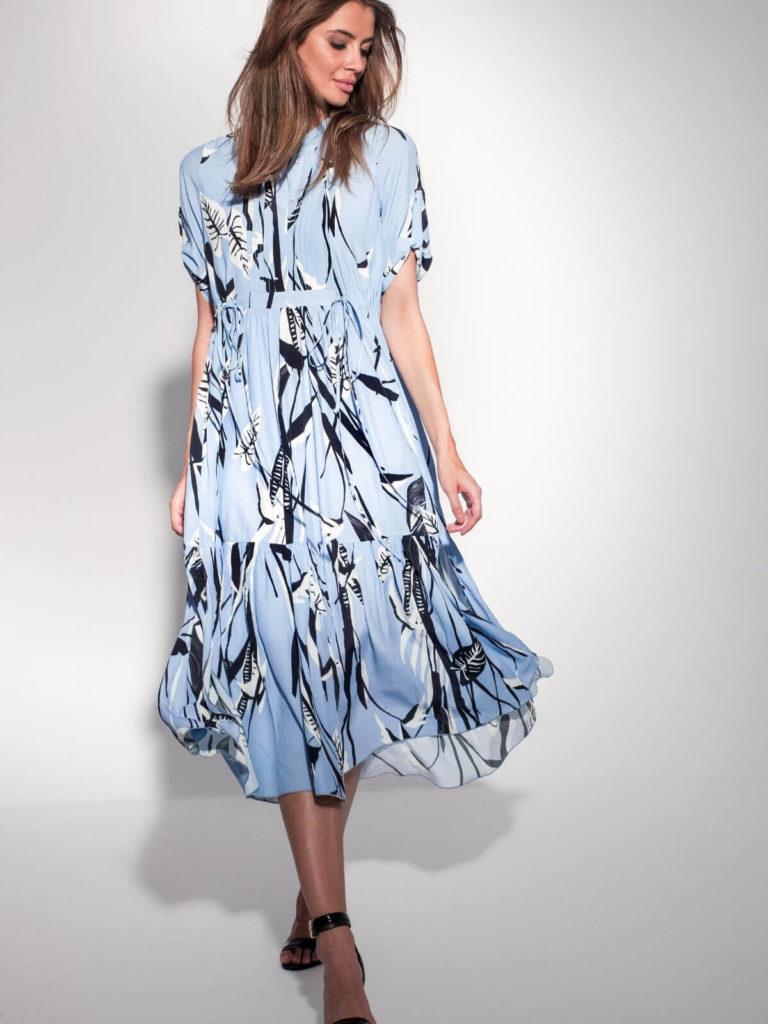 Rochie albastră midi cu model floral
