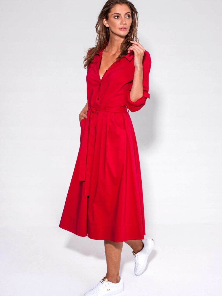 Rochie roșie midi cu fermoar