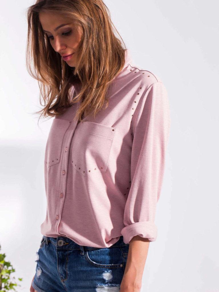 Cămașă roz tricotată