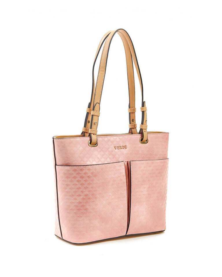 Geantă shopper cu buzunare frontale roz