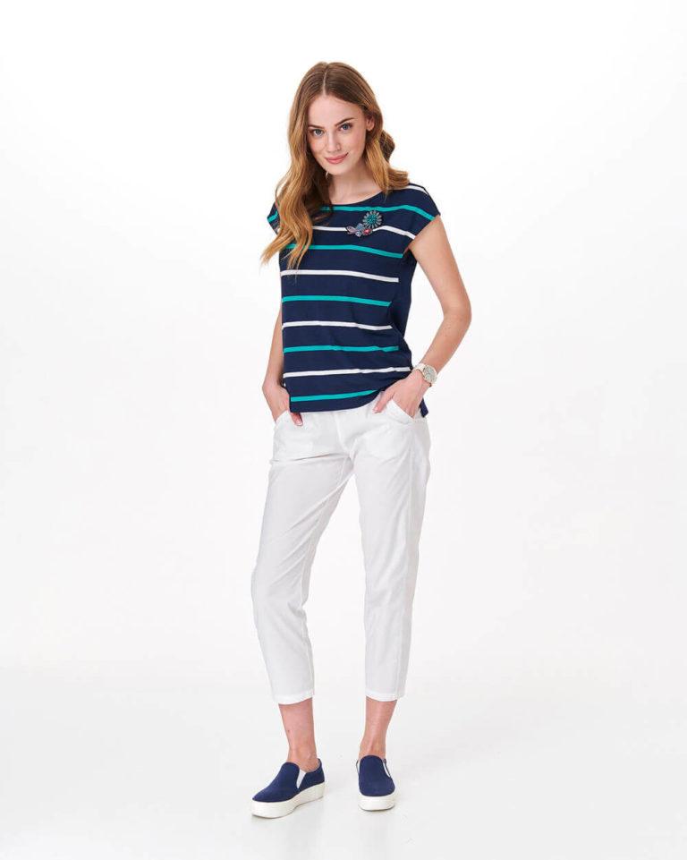 Bluză bleumarin cu dungi și aplicație