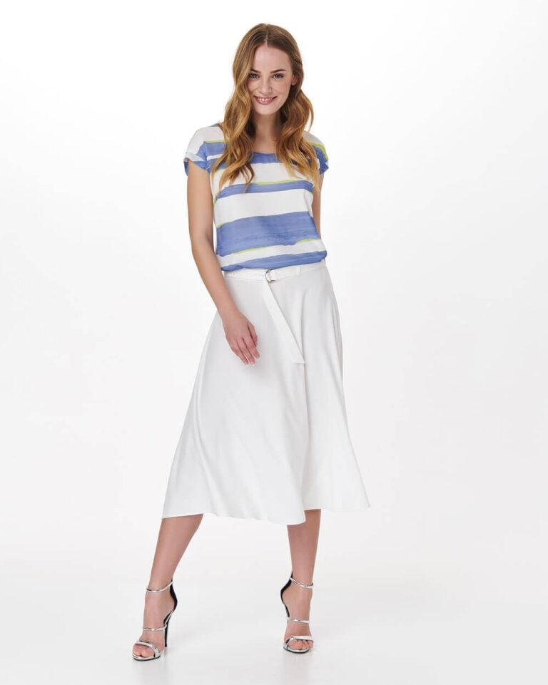 Bluză albă sport cu dungi orizontale bleu