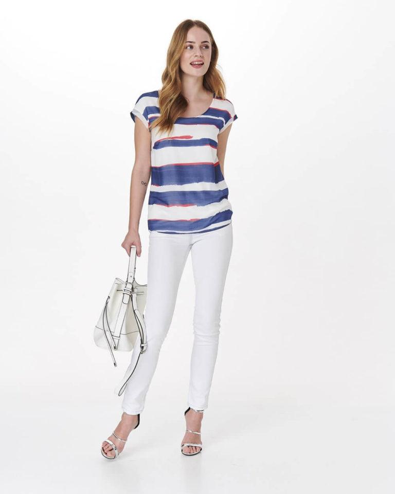 Bluză casual cu dungi orizontale colorate