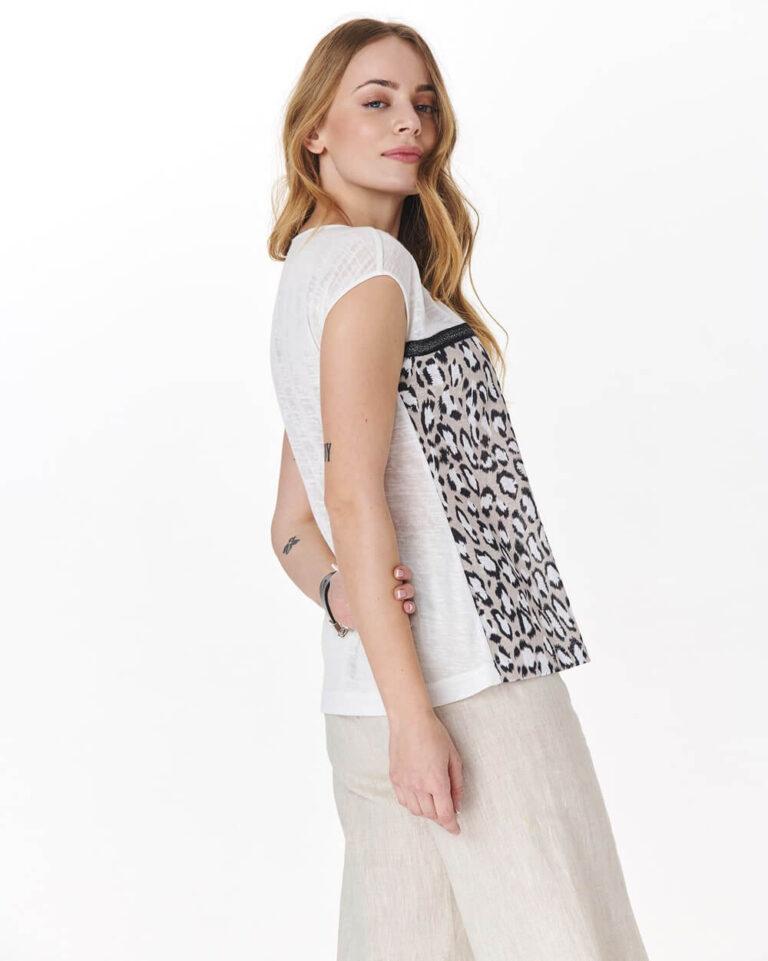 Bluză albă cu imprimeu animal