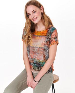 Bluză portocalie cu imprimeu geometric