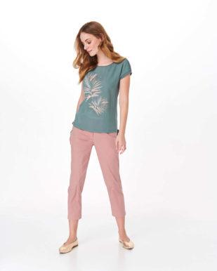 Bluză turcoaz cu imprimeu