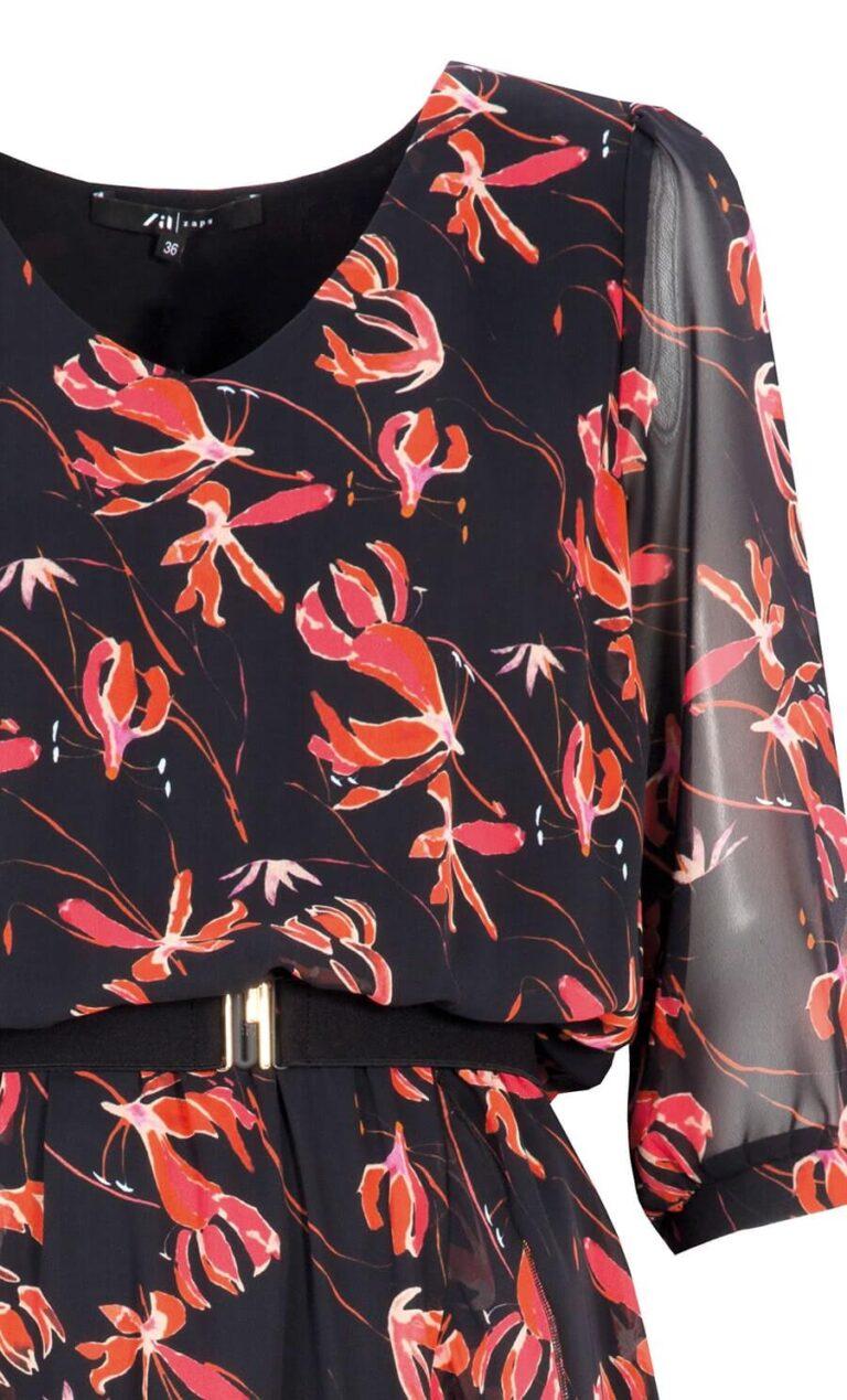 Rochie neagră cu imprimeu floral