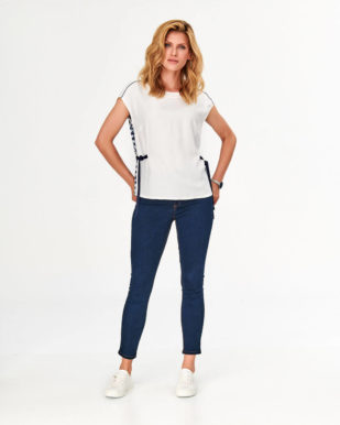 Bluză ecru casual cu spate contrastant