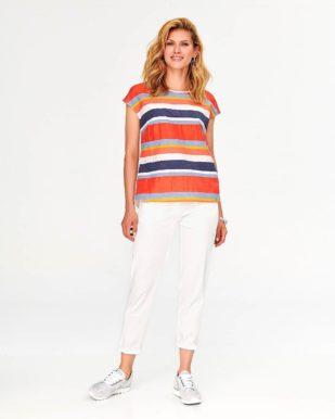 Bluză casual cu dungi orizontale multicolore