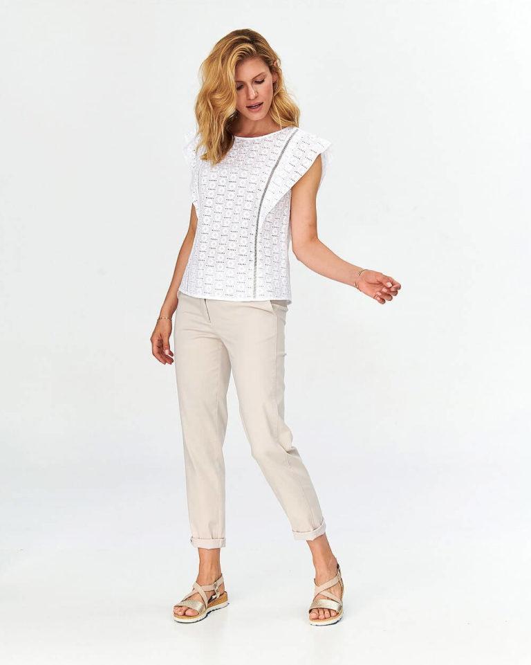 Bluză formală albă din bumbac cu broderie