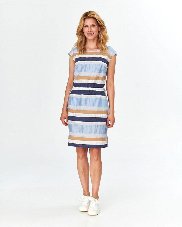 Rochie cu dungi multicolore pastelate