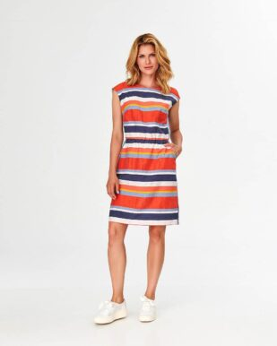 Rochie casual cu dungi multicolore pastelate