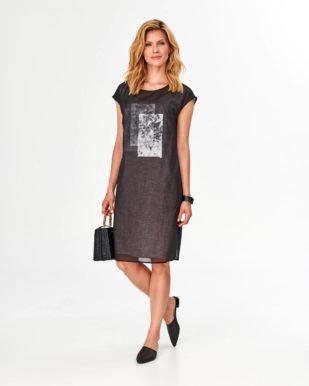 Rochie neagră de in cu imprimeu
