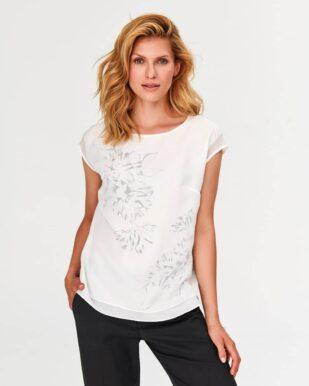 Bluză ecru cu imprimeu floral