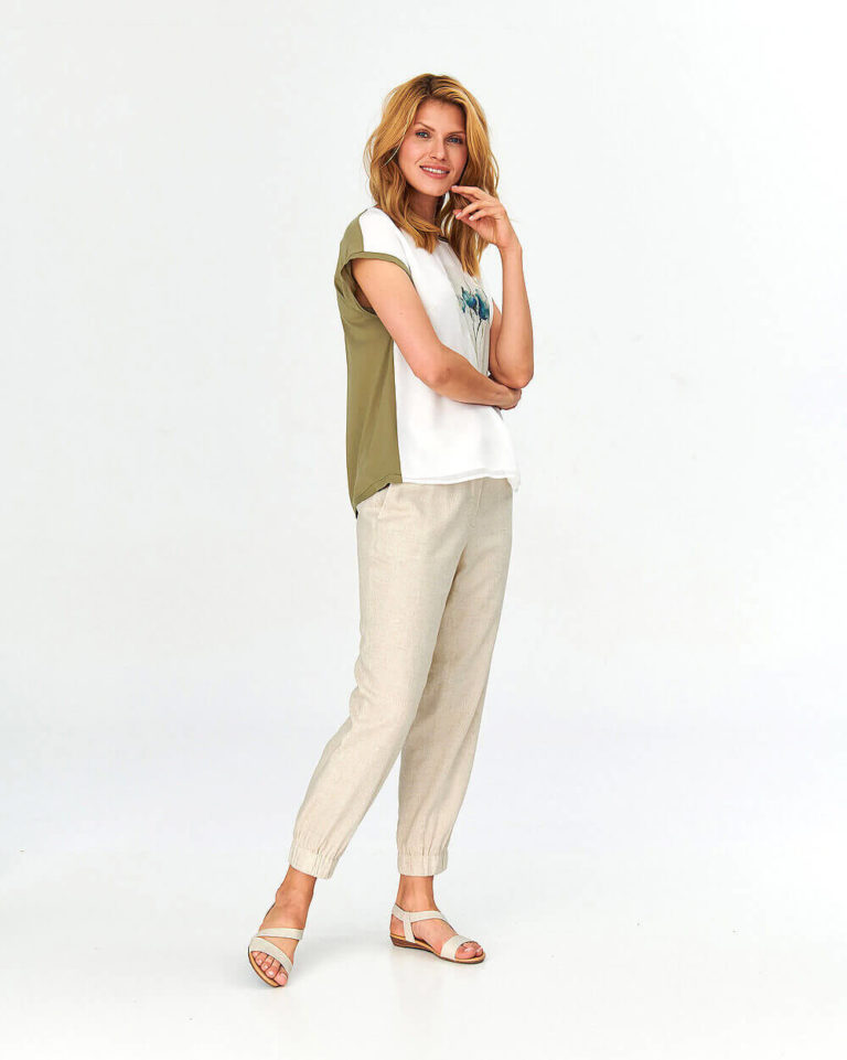 Bluză casual în nuanțe subtile de crem și kaki