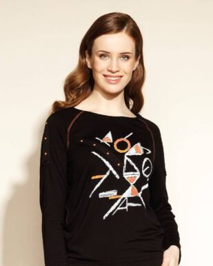 Bluză neagră cu imprimeu geometric