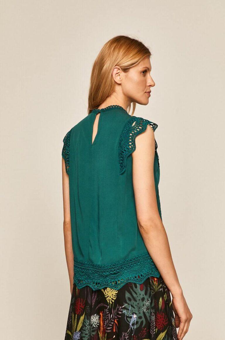 Bluză fară mâneci cu inserție dantelată