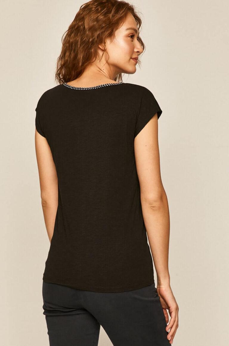 Tricou din bumbac organic cu inserție decorativă în contrast